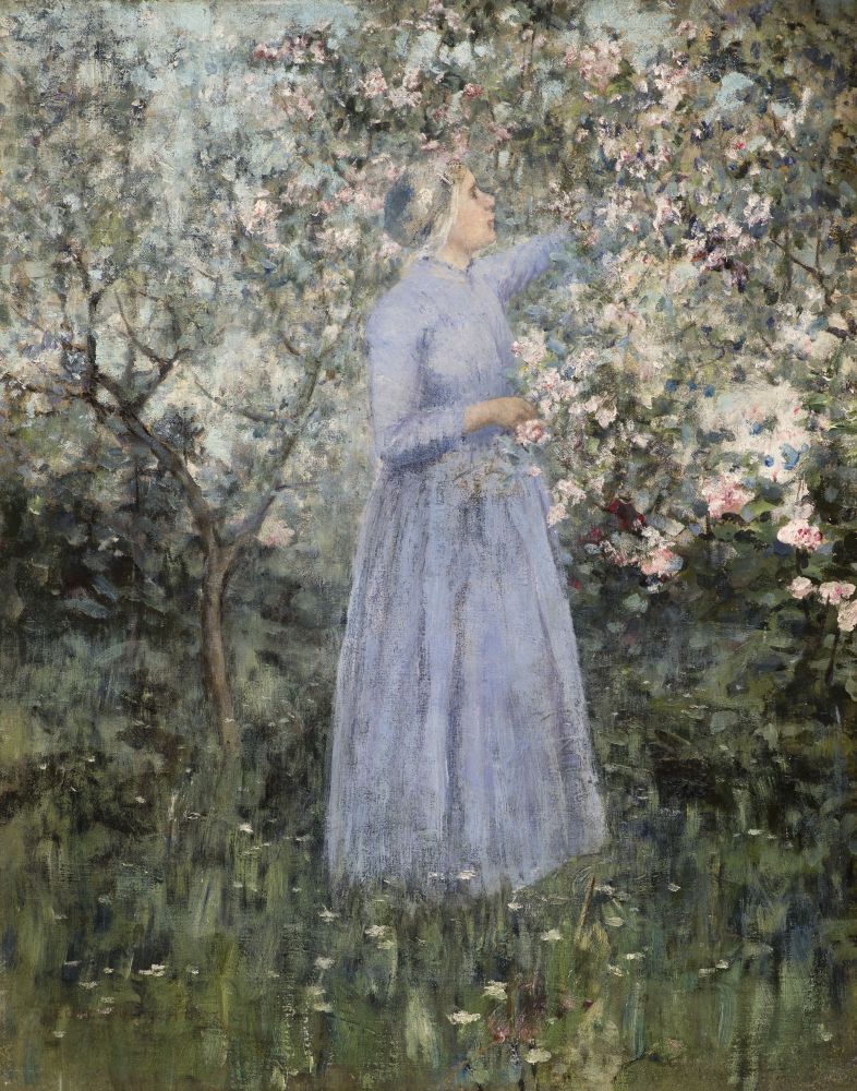 George Hitchcock (1850–1913) Woman in a Garden, 1890. Oil on canvas. 17 1/4 x 13 5/8 in. Signed and dated lower left