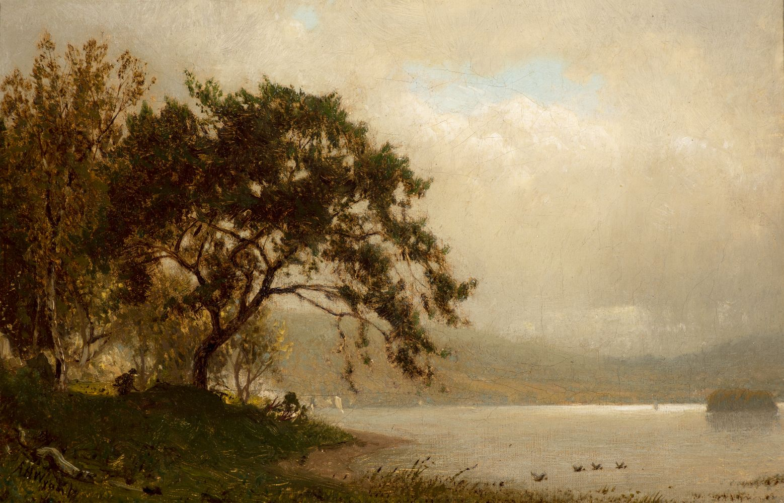 Alexander Helwig Wyant (1836–1892), The Duck Hunter, c. 1872–75, oil on canvas, 6 1/8 x 9 1/8 in., signed lower left: AH Wyant