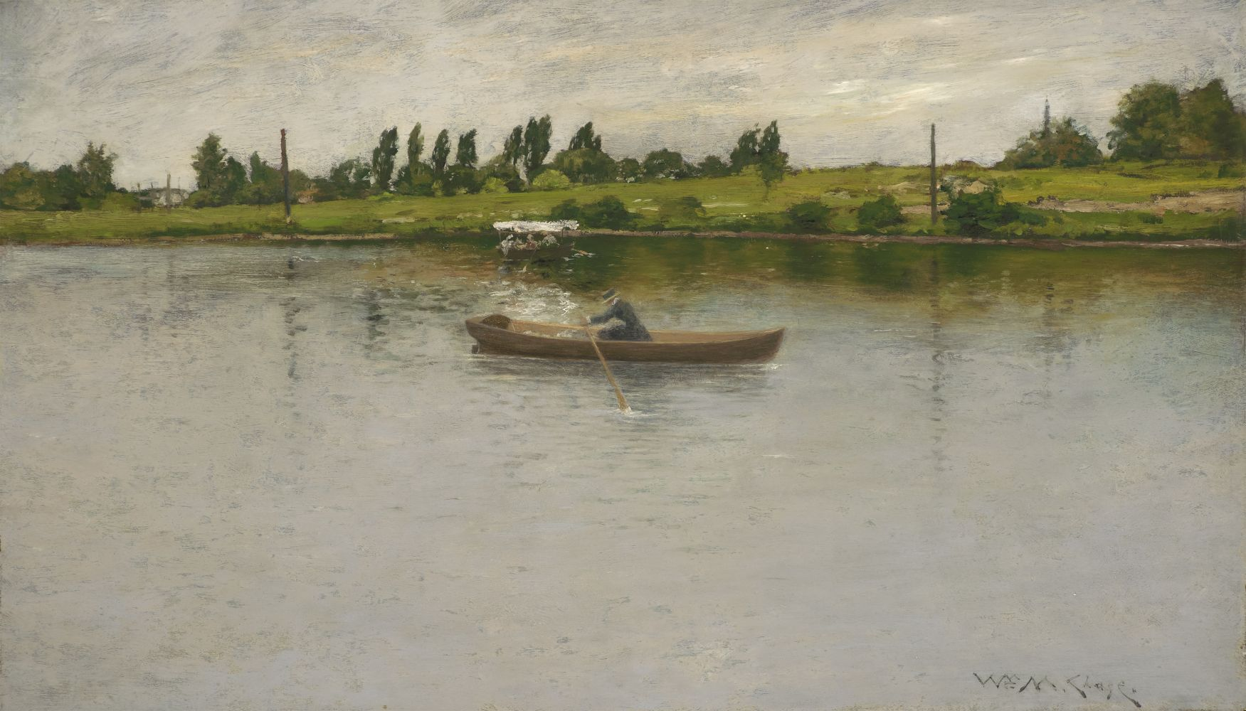 William Merritt Chase (1849–1916), Pulling for Shore, c. 1886, oil on panel, 17 3/4 x 30 in., signed lower right: Wm. M. Chase, a woman rowing on a lake