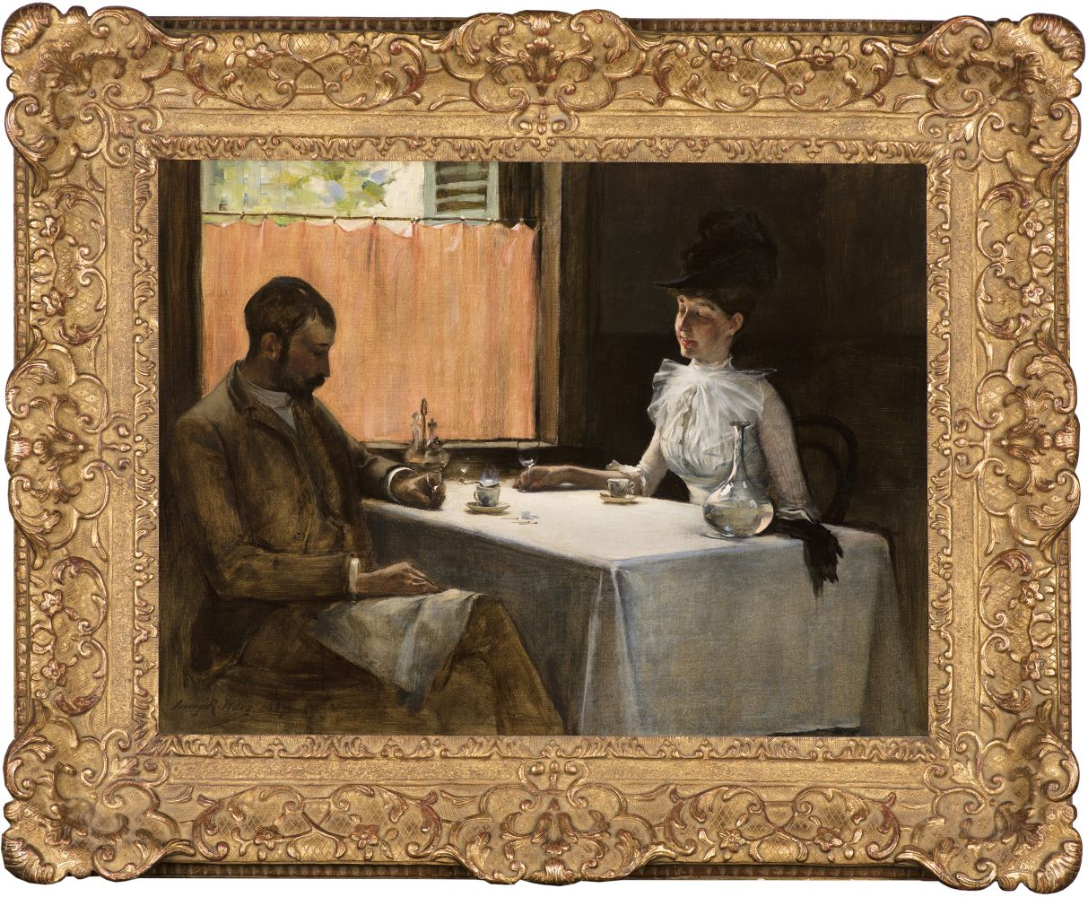 Irving Ramsey Wiles (1861–1948), The Loiterers, 1887, oil on canvas, 18 x 24 in., signed and dated lower left: Irving R. Wiles 1887. The artist and his wife seated in a Parisian cafe. (framed)
