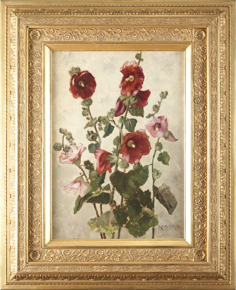 Max Weyl (1837–1914), Hollyhocks, c. 1881, oil on canvas, 21 1/4 x 15 in., signed lower right: Max Weyl / 8… (framed)
