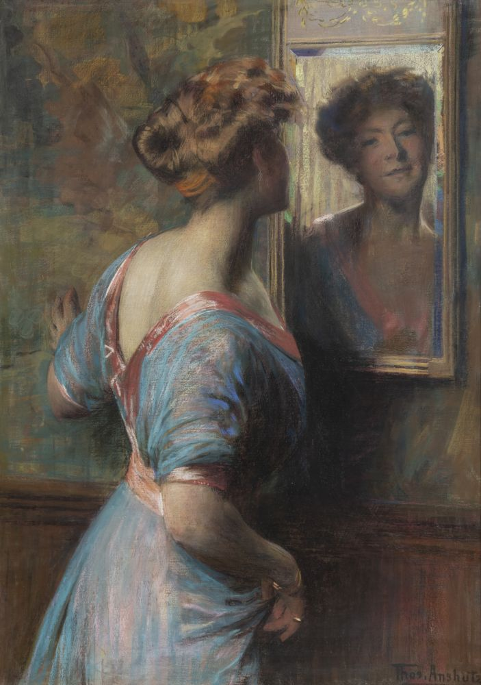 Thomas Anshutz (1851–1912). A Passing Glance, c. 1907. Pastel on canvas. 42 x 30 in. Signed lower right: Thos. Anshutz