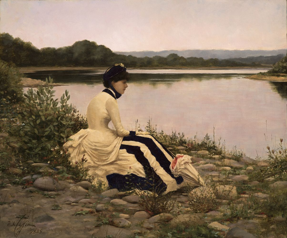 William Anderson Coffin (1855–1925), Reflections, 1885, oil on canvas, 20 1/4 x 24 1/4 in., signed and dated lower left: W. A. Coffin / 1885