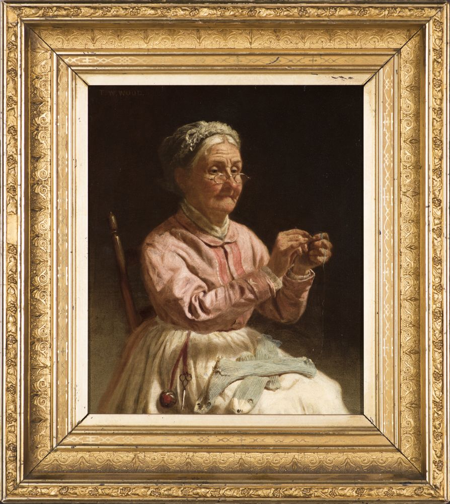 Thomas Waterman Wood (1823–1903), Threading a Needle, c. 1870, oil on canvas, 10 x 12 in., signed upper left: T. W. Wood (framed)