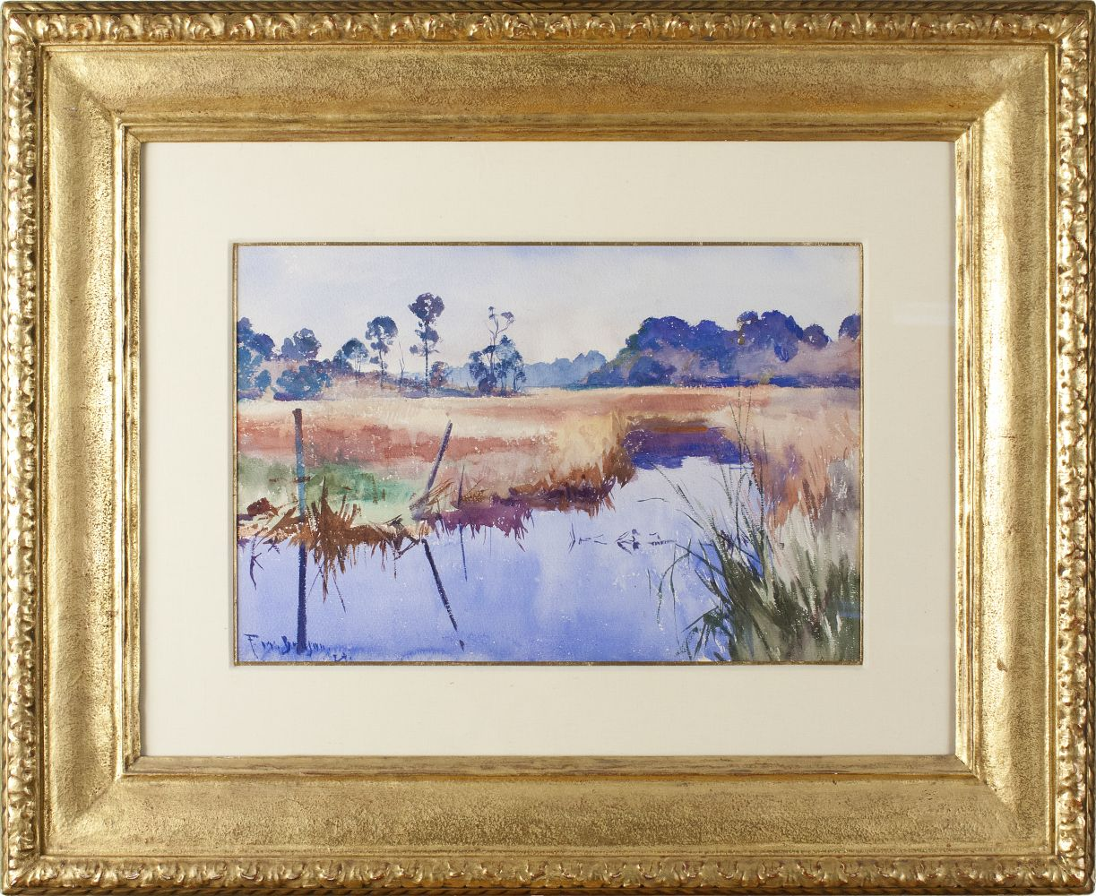 Colorful watercolor by Frank Benson of a river in Alabama (framed).