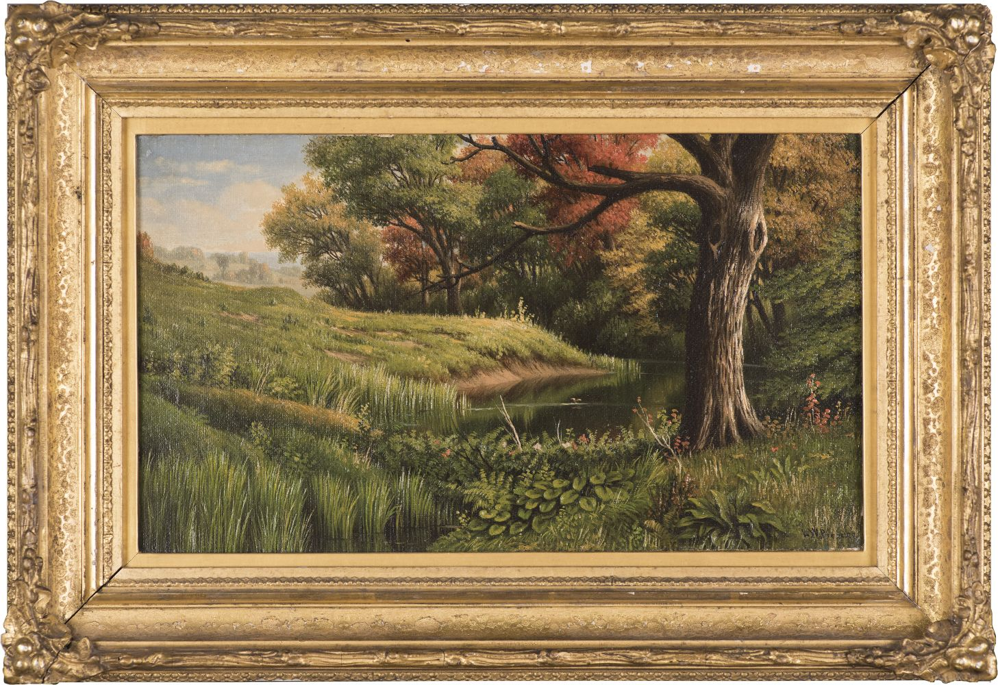 Levi Wells Prentice (1851–1935), An Early Autumn Landscape, 1886, oil on canvas, 7 1/2 x 13 in., signed and lower right: L. W. Prentice, inscribed on verso: L. W. Prentice / 1886 (framed)