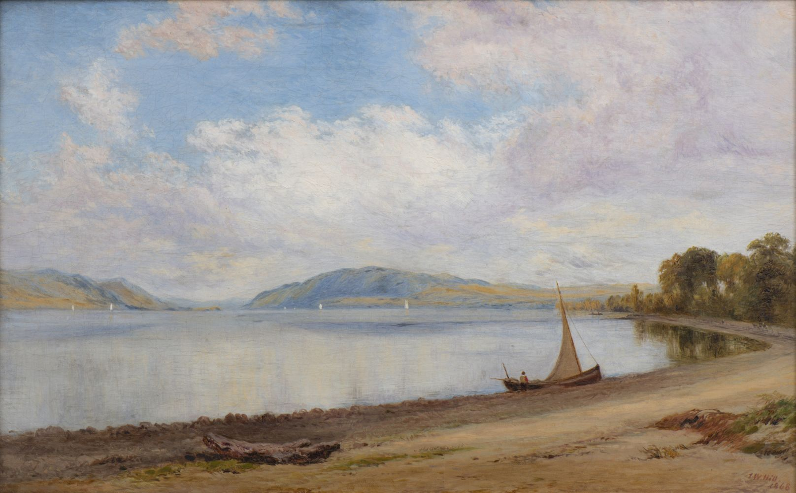 John William Hill (1812–1879) Afternoon, Newburgh-on-Hudson, 1868. Oil on canvas, 15 x 24 in. Signed and dated lower right: J. W. Hill / 1868