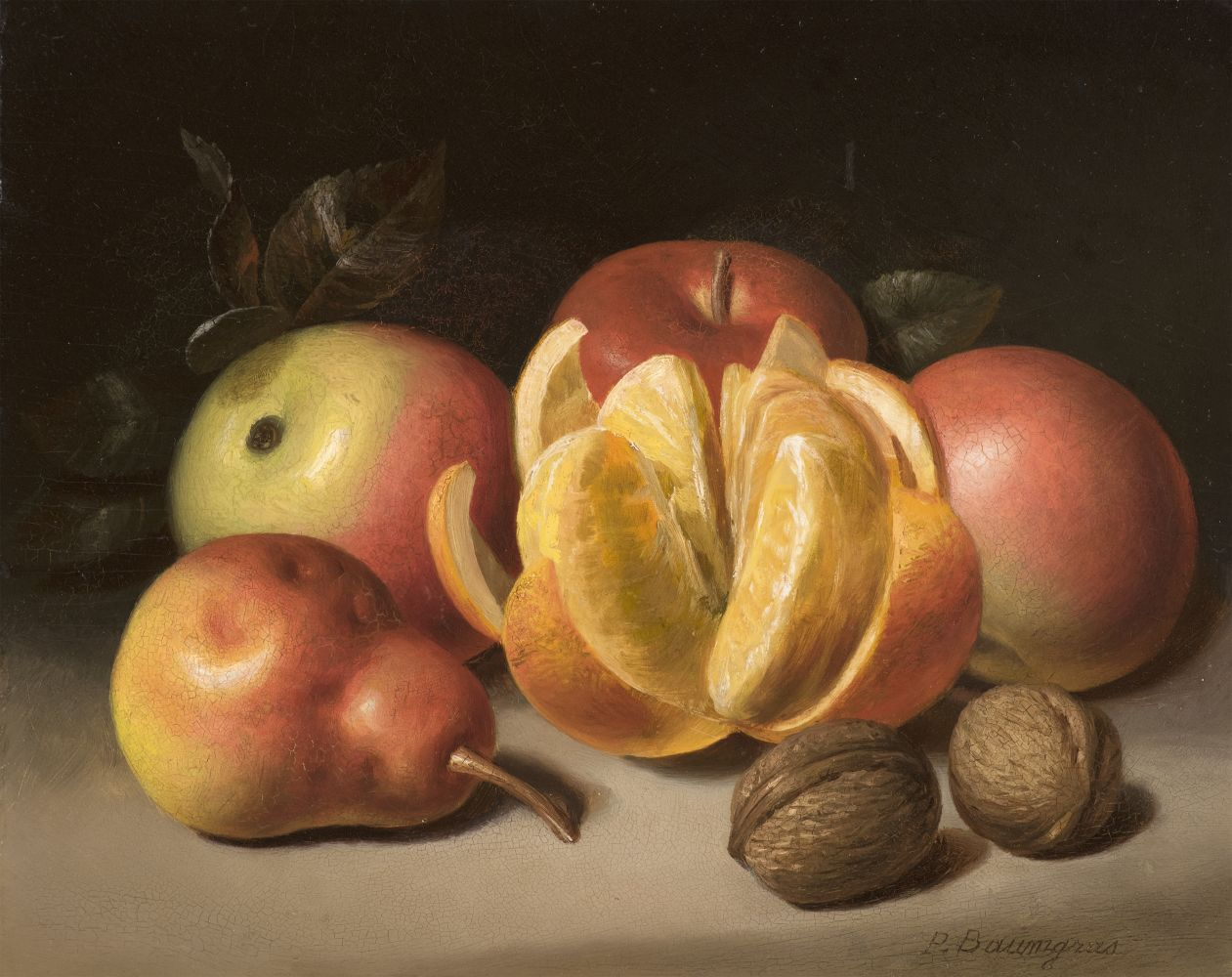 Peter Baumgras (1827–1903), Still Life: Apples, Orange, Pear and Nuts, c. 1860, oil on academy board, 8 x 10 in., signed lower right: P. Baumgras