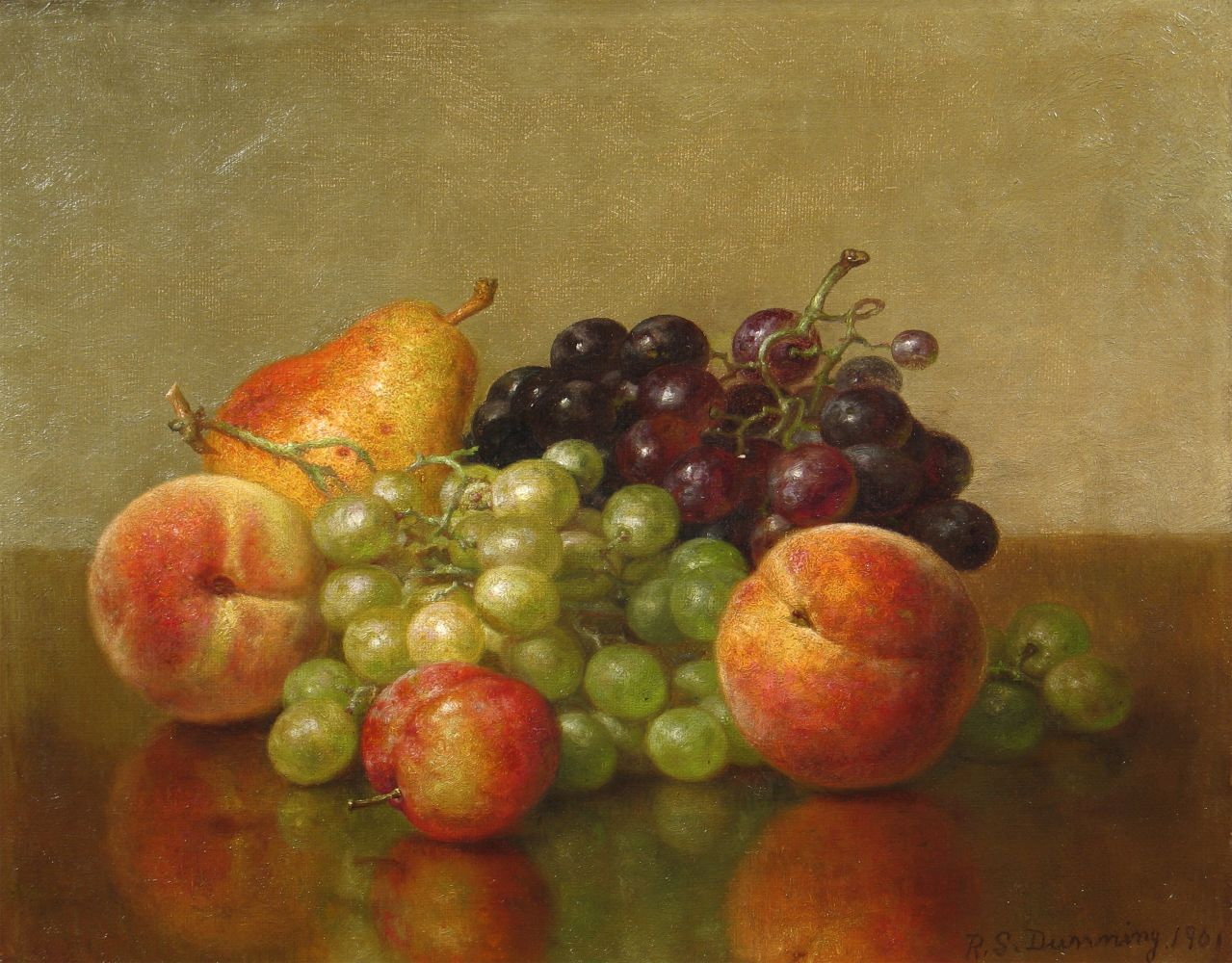 Robert Spear Dunning (1829–1905), An Arrangement of Fruit, 1901, oil on canvas, 11 x 14 in., signed and dated lower right: R. S. Dunning 1901, inscribed on verso: R. S. Dunning / 1901