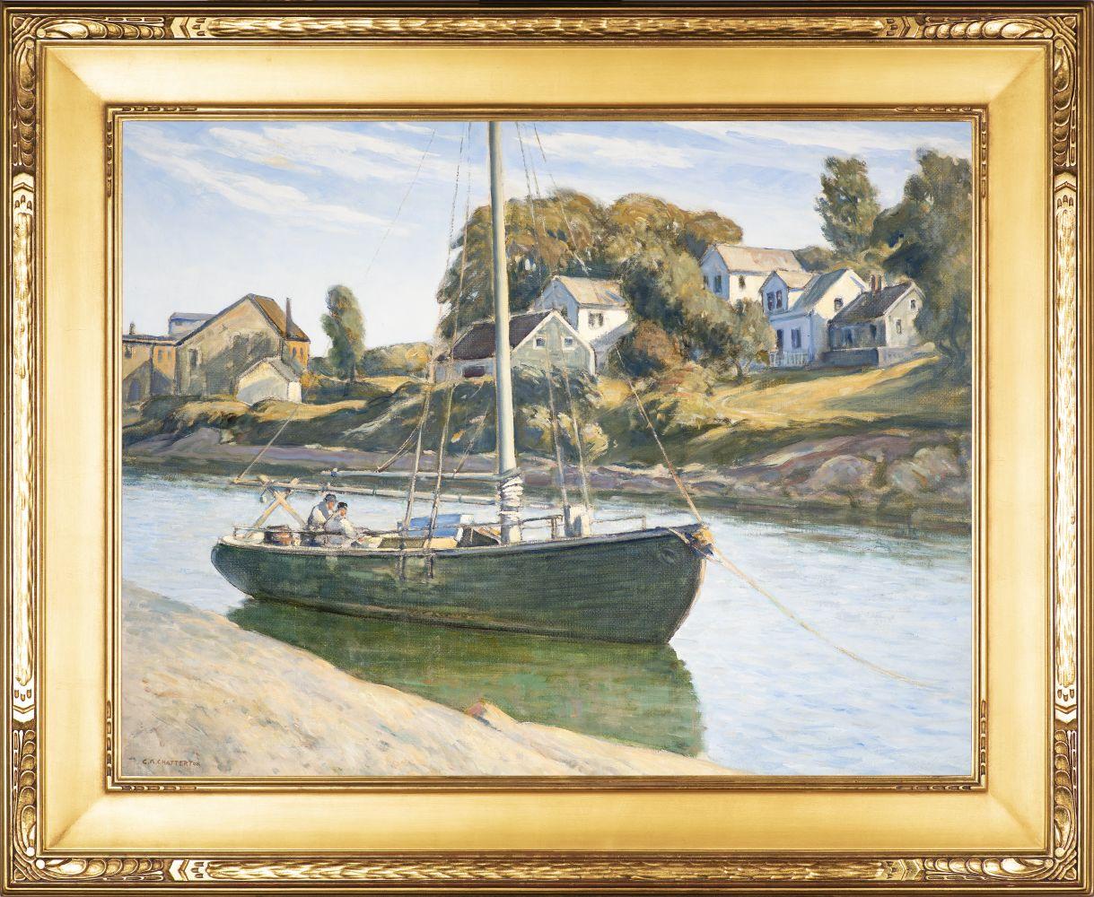 Clarence K. Chatterton (1880–1973), Inlet at Ogunquit, Maine, c. 1925, oil on canvas, 28 x 36 in., signed lower left: C.K. Chatterton (framed)
