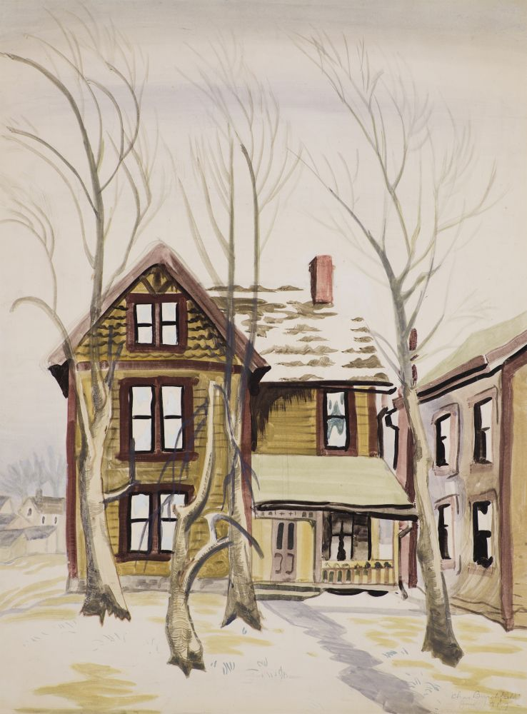 Charles Ephraim Burchfield (1893–1967), Frosted Windows, 1917, watercolor and pencil on paper, 26 x 20 in., signed and dated lower right: Chas Burchfield / Jan 1917 –
