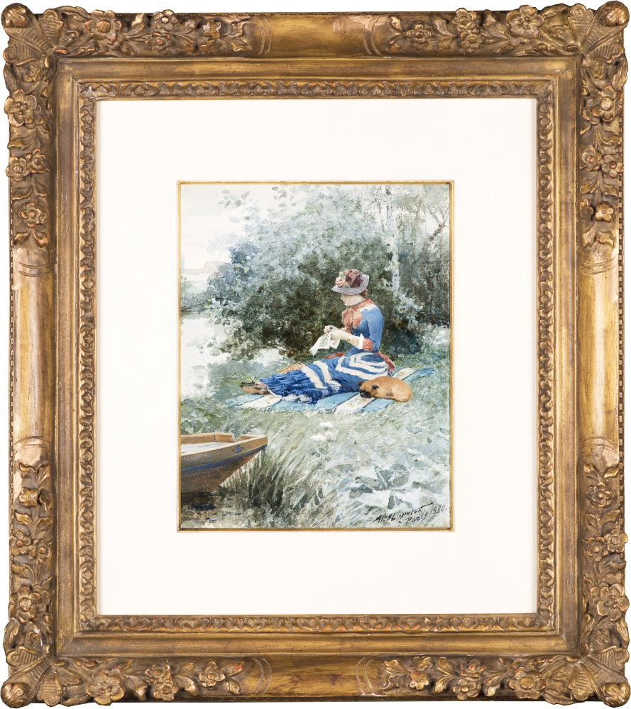 William H. Lippincott (1849–1920). En attendant (Waiting), 1880. Watercolor on paper, 10 1/2 x 8 1/2 in. Signed and dated lower right: Wm. H. Lippincott/ Paris 1880 (framed)