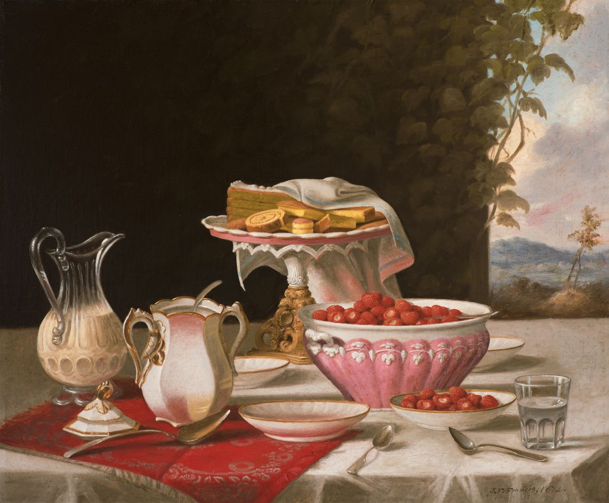 John F. Francis (1808–1886), The Dessert, 1872, oil on canvas, 25 x 30 ½ in., signed and dated lower right: J.F. Francis. 1872.