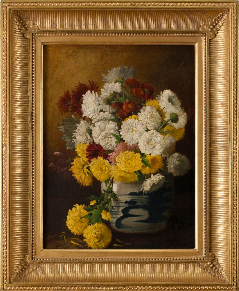 Claude Raguet Hirst (1855–1942) Chrysanthemums in a Canton Vase, c. 1886. Oil on canvas, 16 x 12 in. Signed lower right: Claude Raguet Hirst NY (framed)
