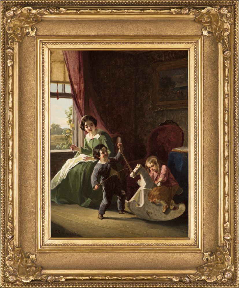 Christian Schussele (1824–1879), The Rocking Horse, c. 1850, oil on canvas, 16 x 12 in., signed lower left: C. Schussele (framed)