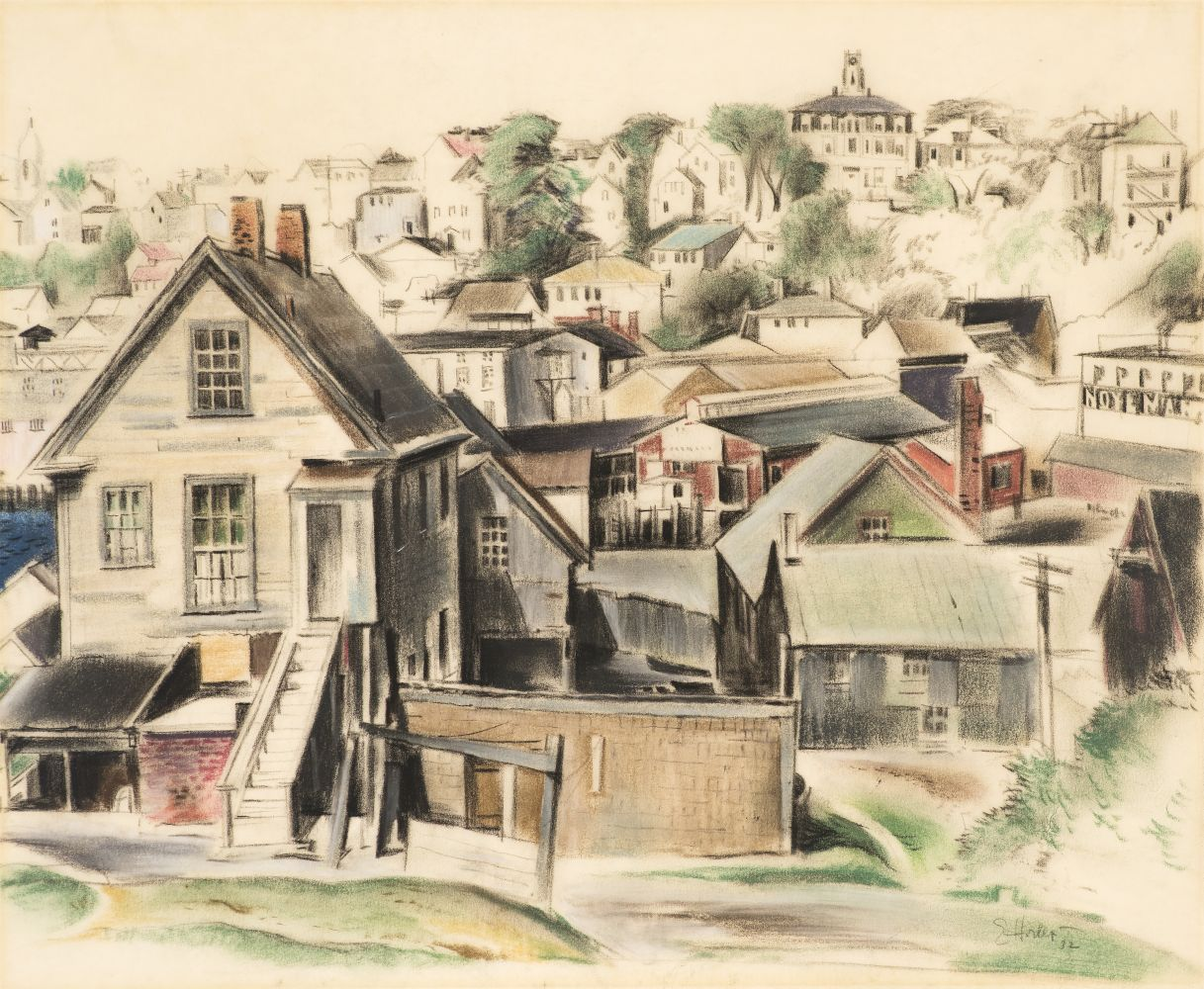 Earl Horter (1881–1940), Gloucester, Massachusetts, 1932, pastel on vellum, 12 x 14 1/2  in., signed and dated lower right: E. Horter '32