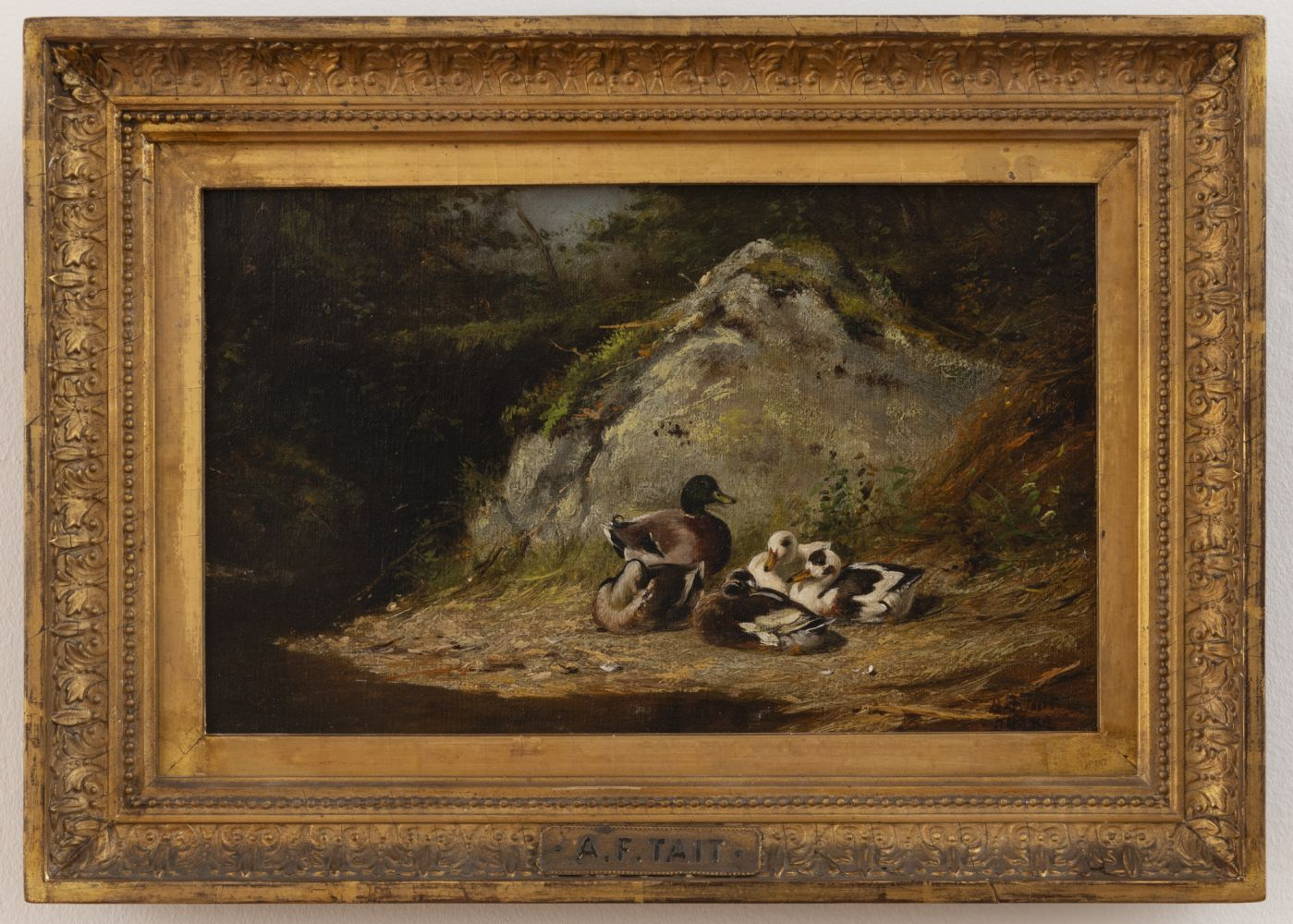Arthur Fitzwilliam Tait (1819–1905), Ducks Sunning, 1882, oil on canvas, 6 1/2 x 10 1/2 in., signed and dated lower right (framed)