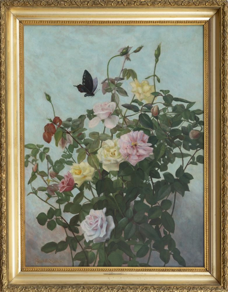 George Cochran Lambdin (1830–1896). Roses with Butterfly. Oil on canvas, 24 x 18 in. Signed lower left (framed)