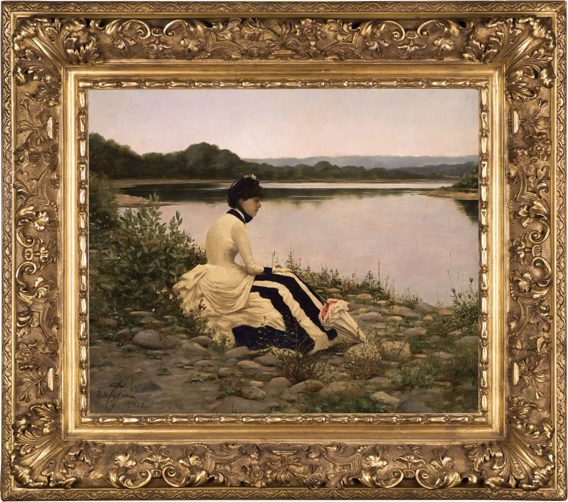 William Anderson Coffin (1855–1925), Reflections, 1885, oil on canvas, 20 1/4 x 24 1/4 in., signed and dated lower left: W. A. Coffin / 1885 (framed)