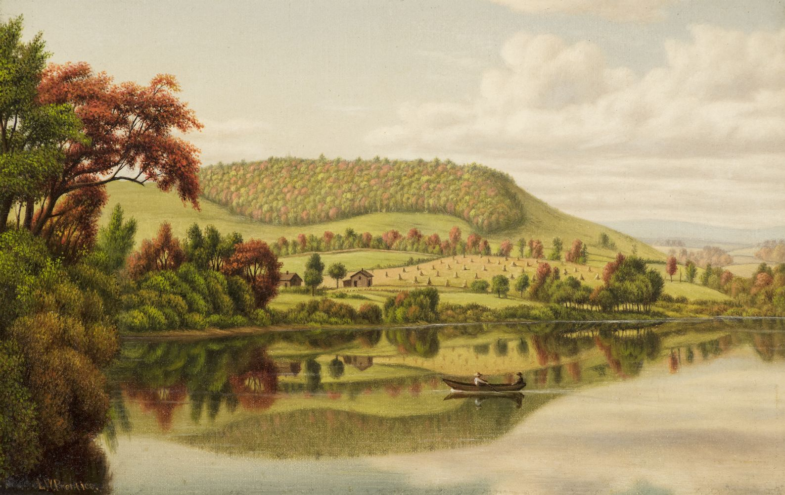 Levi Wells Prentice (1851–1935), Autumn Reflections, oil on canvas, 8 x 12 in., signed lower left: L.W. Prentice