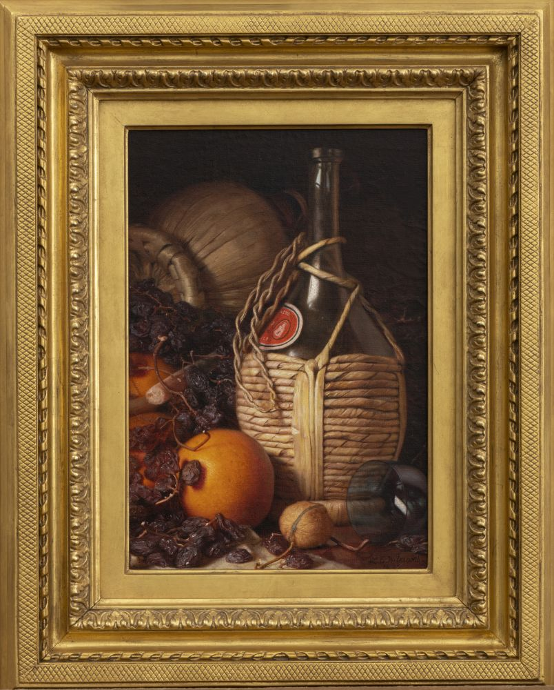 Lemuel E. Wilmarth (1835–1918). Wine Bottles, Walnut, Oranges and Raisins, 1892. Oil on canvas laid down on panel. 13 x 9 in., signed and dated lower right (framed)