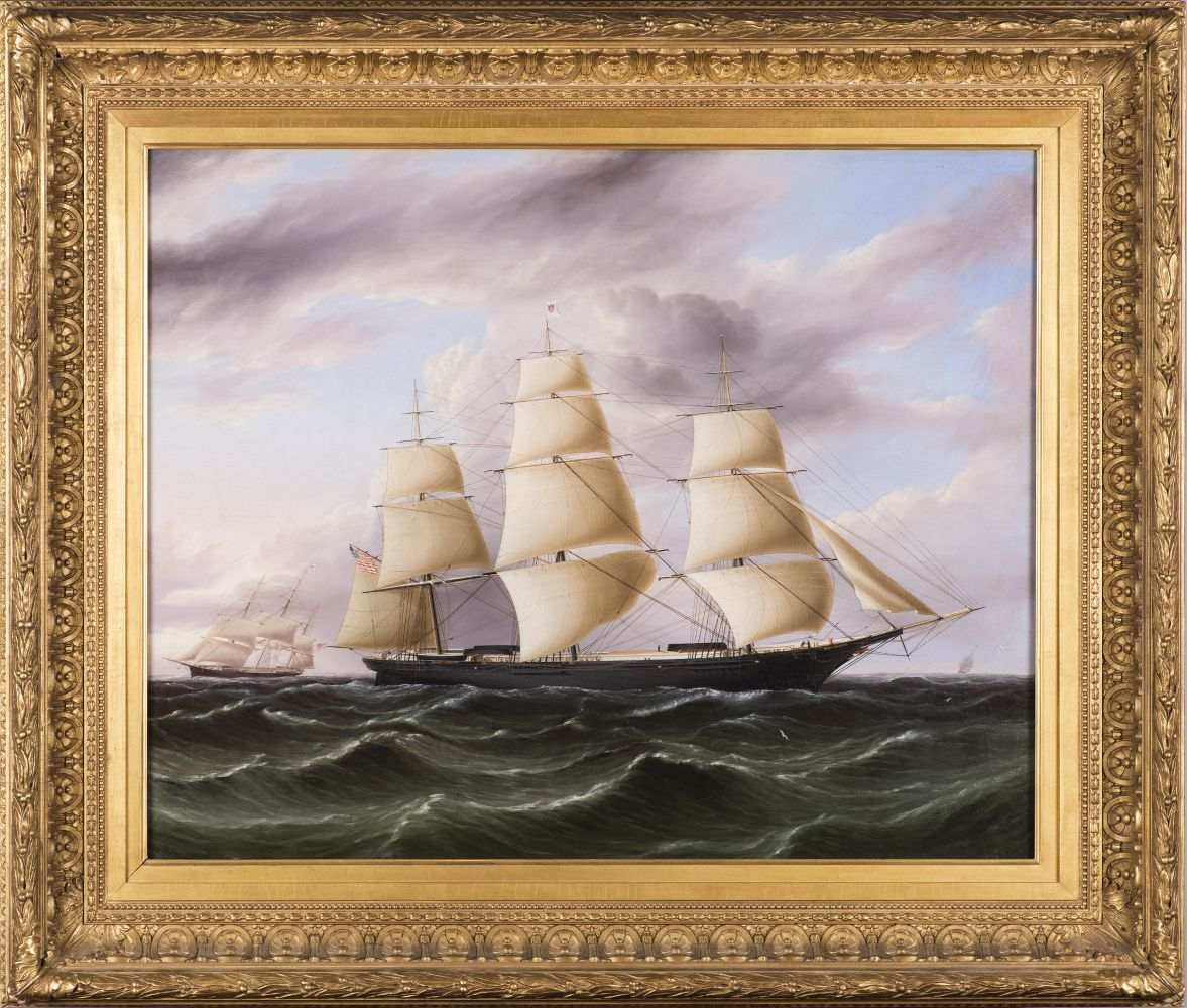James E. Buttersworth (1819–1894), Clipper Ship Black Warrior, c. 1853, oil on canvas, 29 x 36 in., signed lower right: J. E. Buttersworth (framed)
