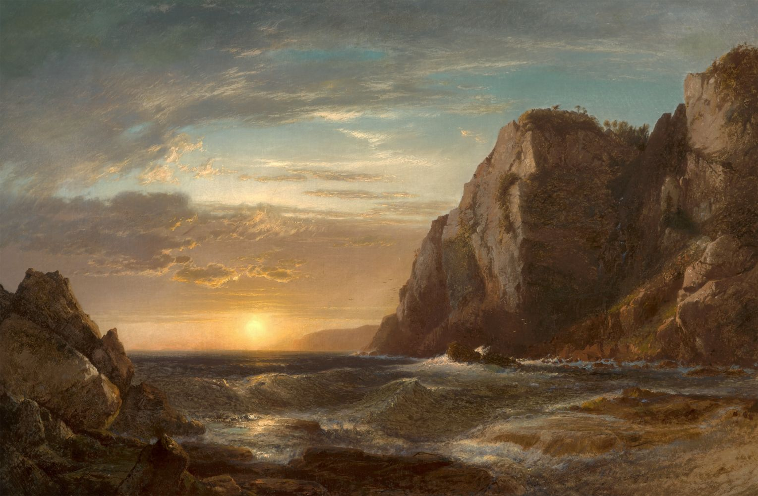William Hart (1823–1894), Sunset on Grand Manan Island, New Brunswick, 1861, oil on canvas, 32 x 48 in., signed and dated lower left: Hart 1861