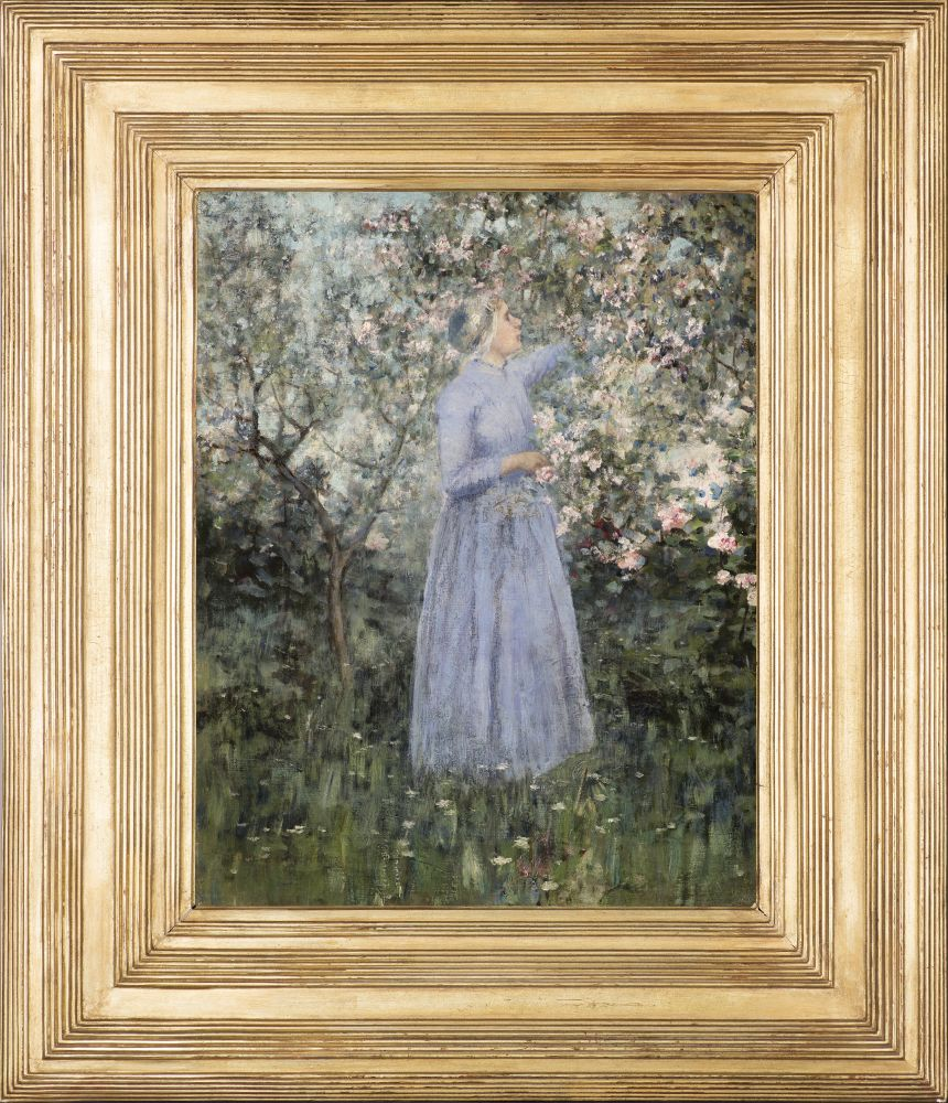 George Hitchcock (1850–1913)  Woman in a Garden, 1890. Oil on canvas. 17 1/4 x 13 5/8 in. Signed and dated lower left: George Hitchcock 1890 (framed)