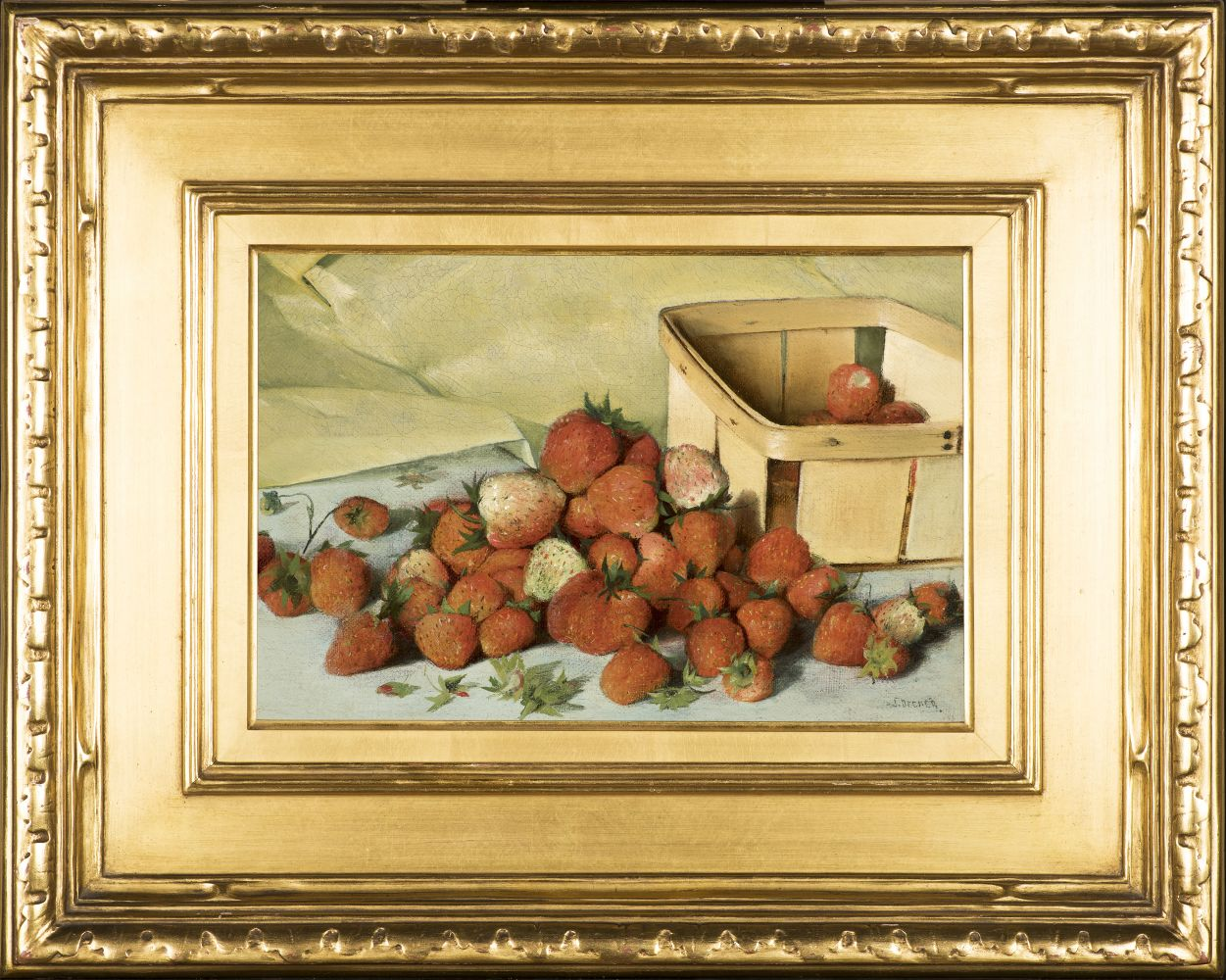 Joseph Decker (1853–1924), Still Life with Strawberries, c. 1885, oil on canvas, 8 x 11 7/8 in., signed lower right: J. Decker (framed)