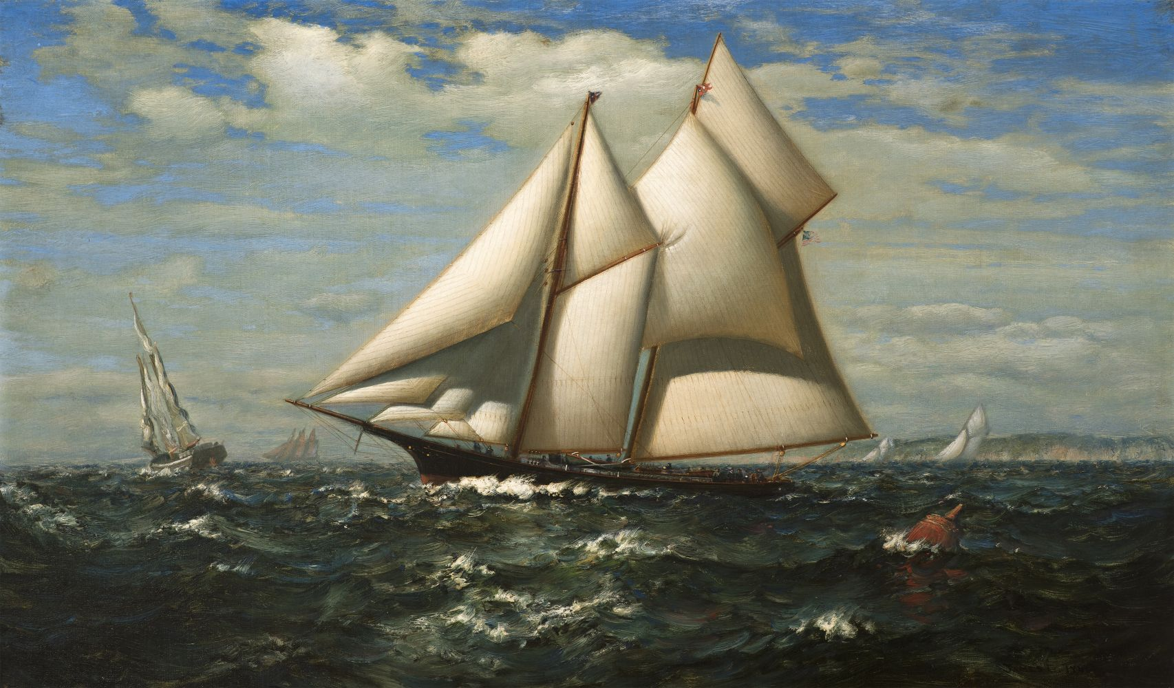 James Gale Tyler (1855–1931), The Yacht, Water Witch, oil on canvas, 18 x 30 in., signed lower right: James G. Tyler