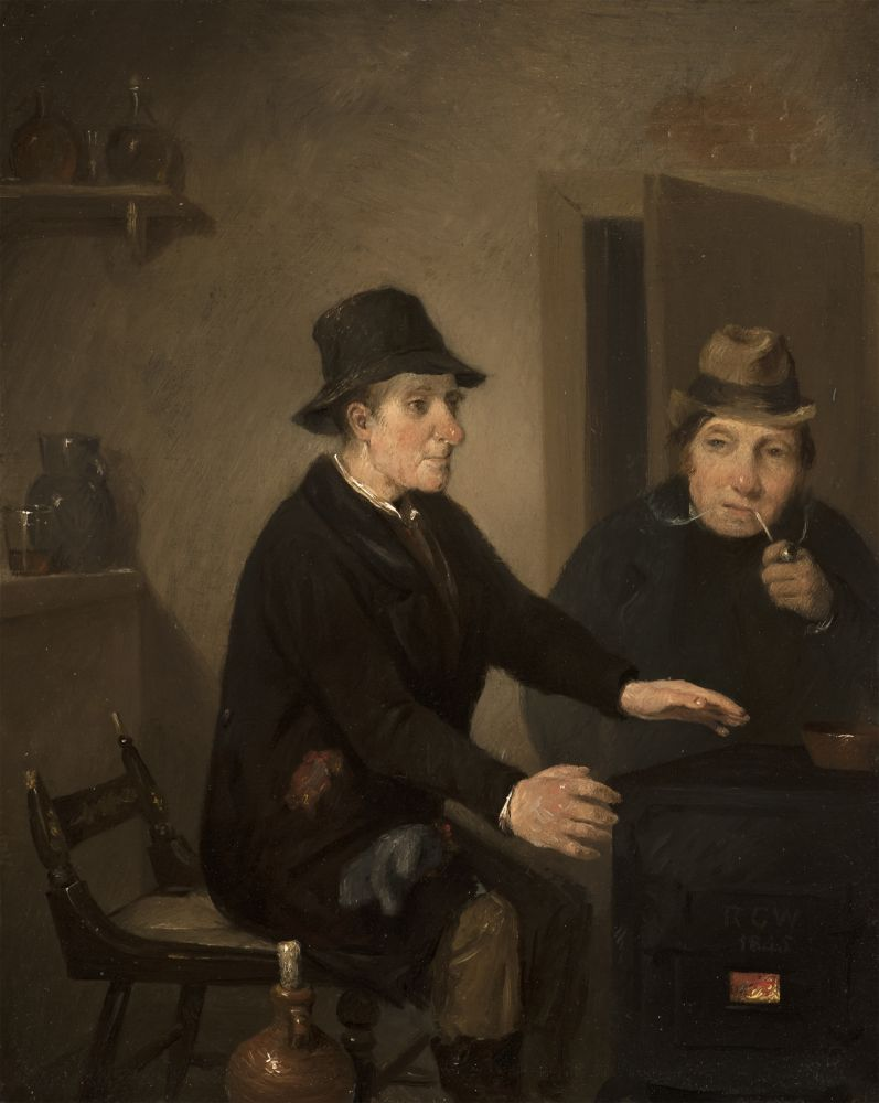 Richard Caton Woodville (1825–1855), Scene in a Bar-Room, 1845, oil on panel, 8 1/2 x 6 3/4 in., signed and dated lower right: R C W / 1845