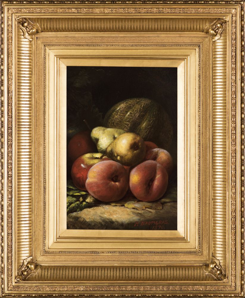 Peter Baumgras (1827–1903), Still Life with Fruit, 1870, oil on board, 12 x 8 in., signed and dated lower right: P. Baumgras / 1870 (framed)