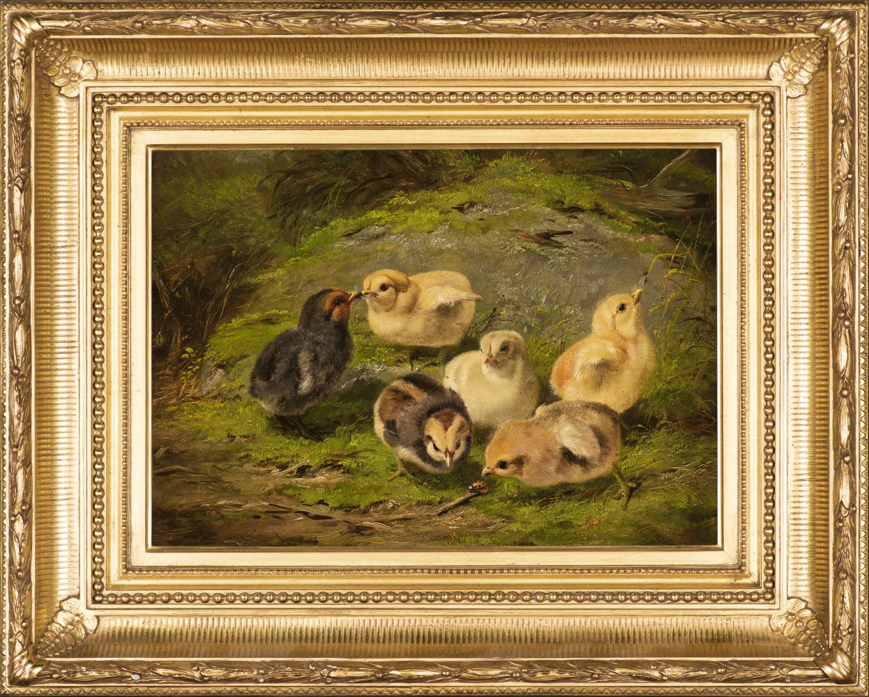 Arthur Fitzwilliam Tait (1819–1905), Chickens, 1865, oil on artist board, 10 x 14 in., signed and dated lower right: A. F. Tait / 1865 Inscribed on verso: 402 / AF Tait / 1865 (framed)