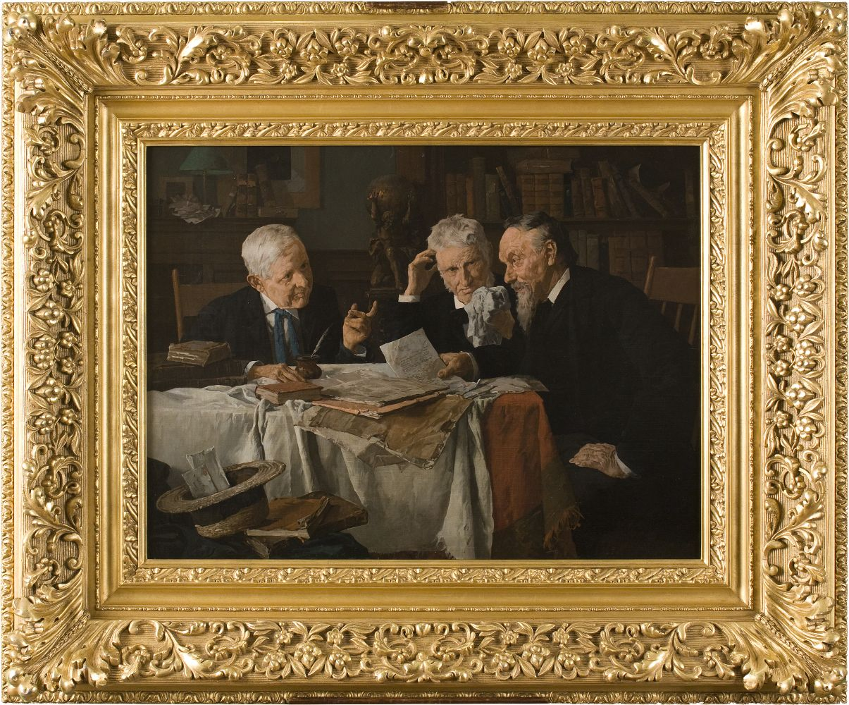 Louis Charles Moeller (1855–1930), A Discussion, c. 1890, oil on canvas, 18 x 24 in., signed indistinctly lower right: Louis Moeller N. A. (framed)