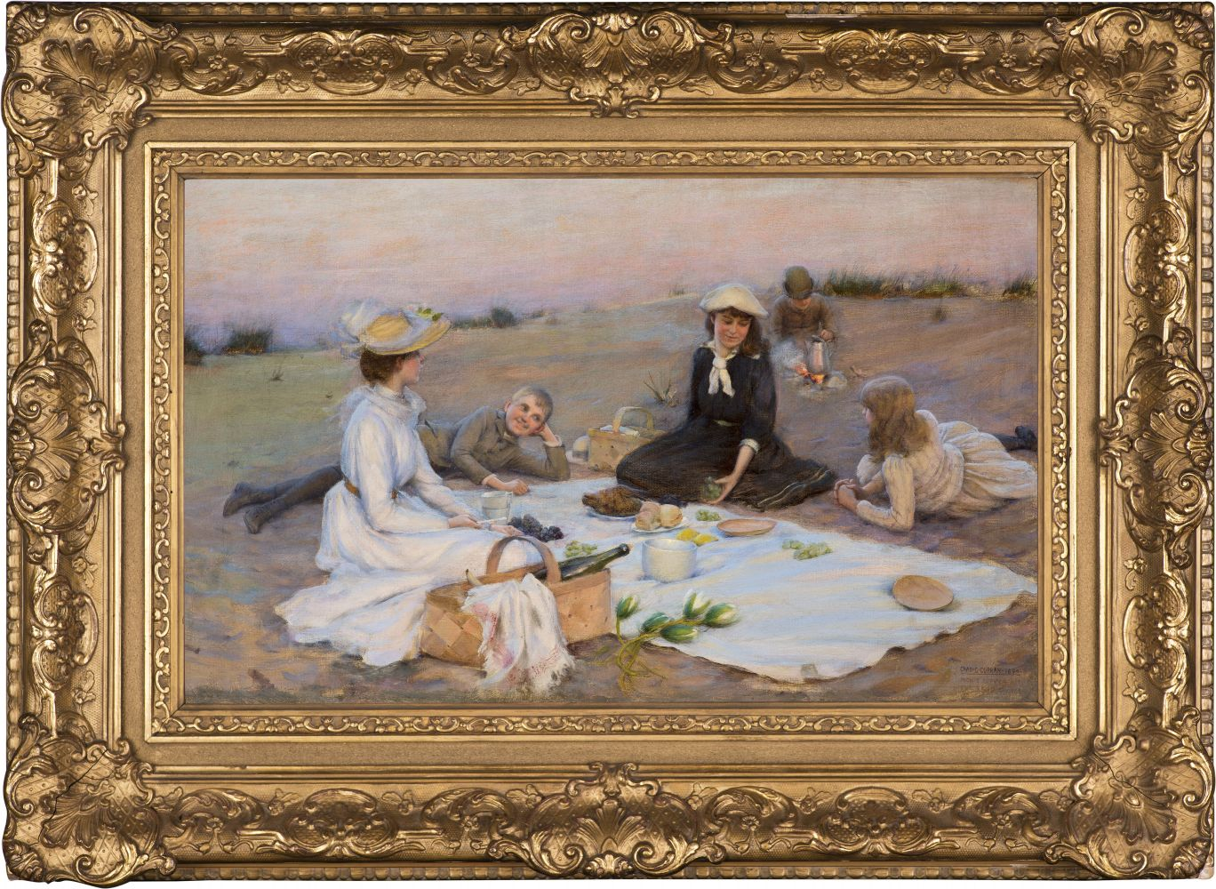Charles Courtney Curran (1861–1942), Picnic Supper on the Sand Dunes, 1890, oil on canvas, 12 x 20 in., signed, dated, and titled lower right: Chas. C. Curran 1890 / Picnic Supper on / the Sand Dunes (framed)