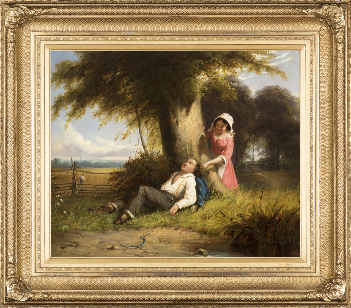 William Sanford Mason (1824–1864), Caught Napping, 1857, oil on canvas, 20 x 24 1/4 in., signed and dated lower right: W. Sanford Mason (framed)