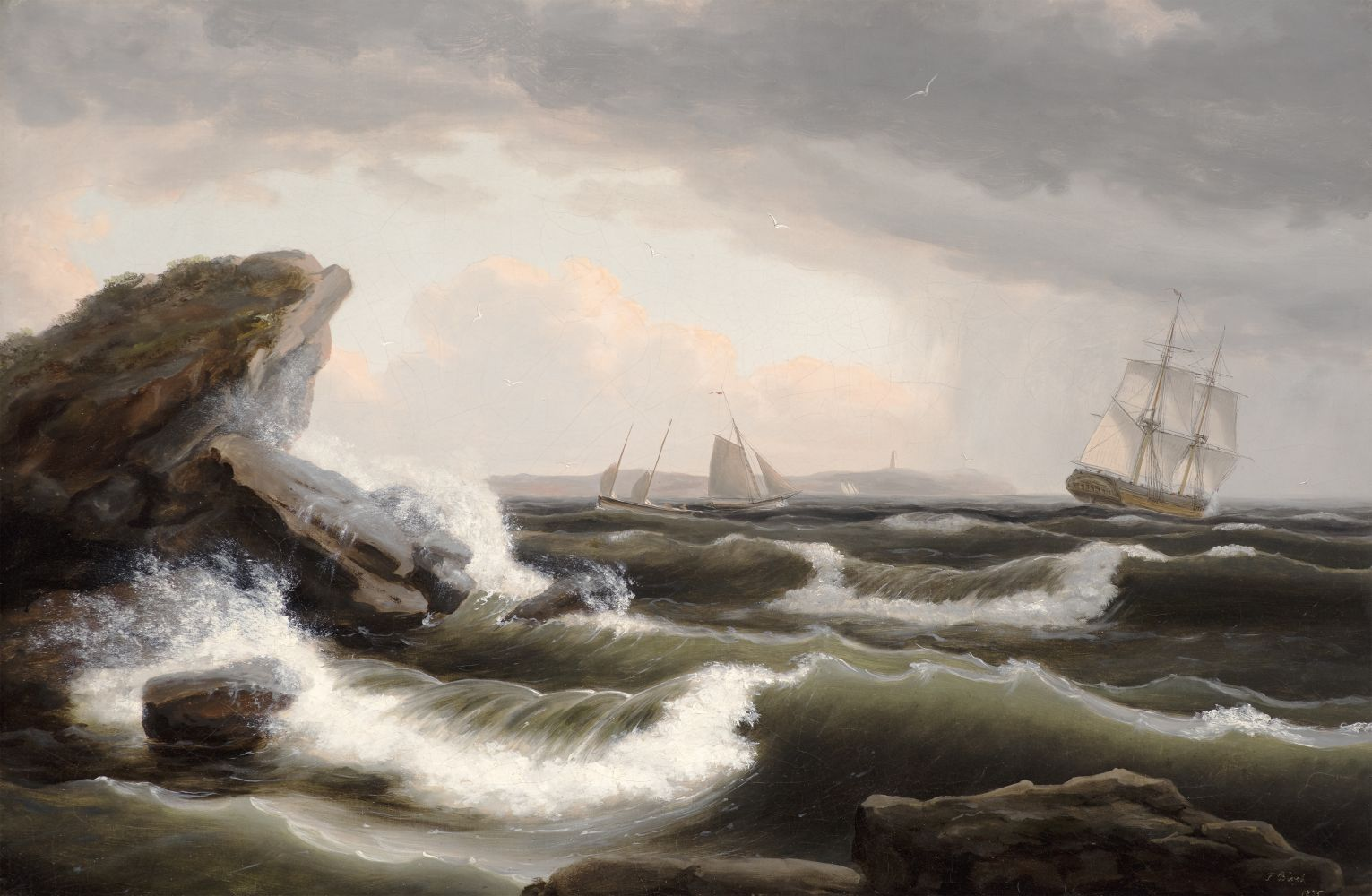 Stormy seascape off the coast of Maine by Thomas Birch.
