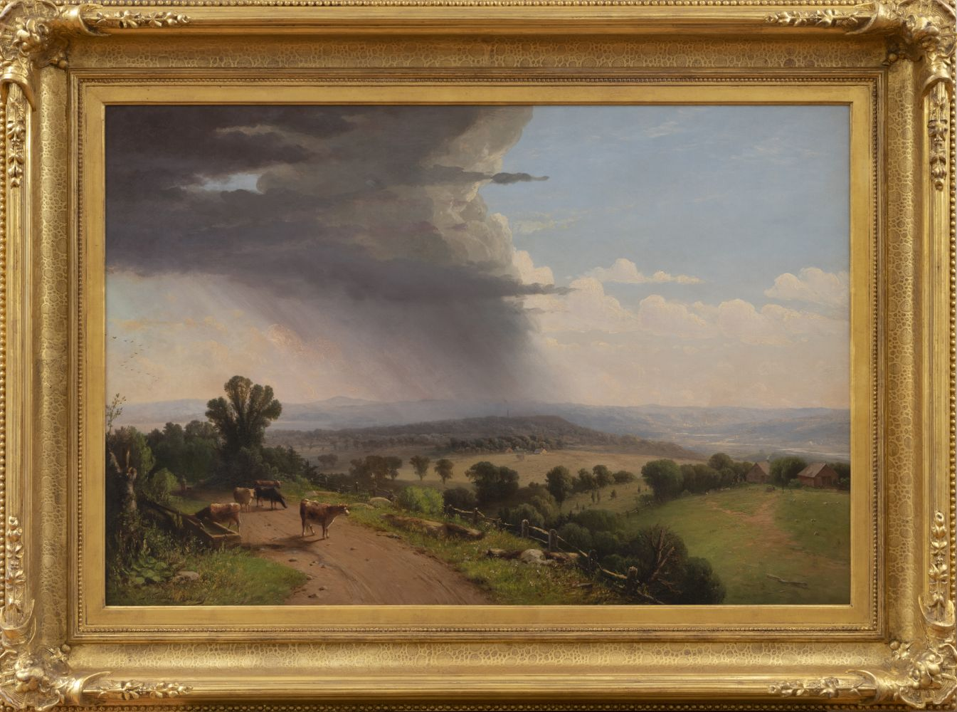 John Williamson (1826–1885), Passing Shower, Upper Valley of the Connecticut River, 1870, oil on canvas, 27 1/8 x 40 in., signed lower left: J. Williamson. 1870. N.Y Inscribed on verso: Passing Shower / Upper Valley of the Connecticut / J Williamson / N.Y. 1870 (framed)