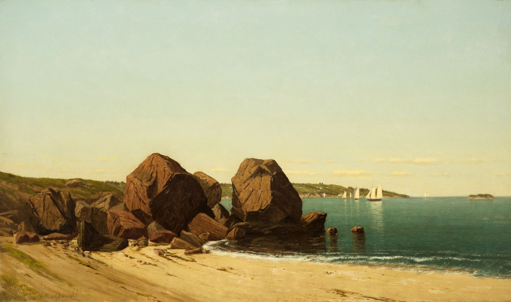 James R. Brevoort (1832–1918), Half Moon Cove at Gloucester Bay, c. 1870, oil on canvas, 18 x 30 in., signed lower left: J. R. Brevoort