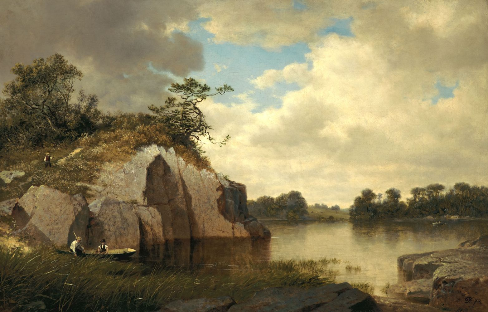 David Johnson (1827–1908), Catnip Island near Greenwich, Connecticut, 1878-79, oil on canvas, 22 x 34 in.,  signed and dated lower right: DJ 78, inscribed on verso: Catnip Island near / Greenwich, / Conn. / David Johnson 1879
