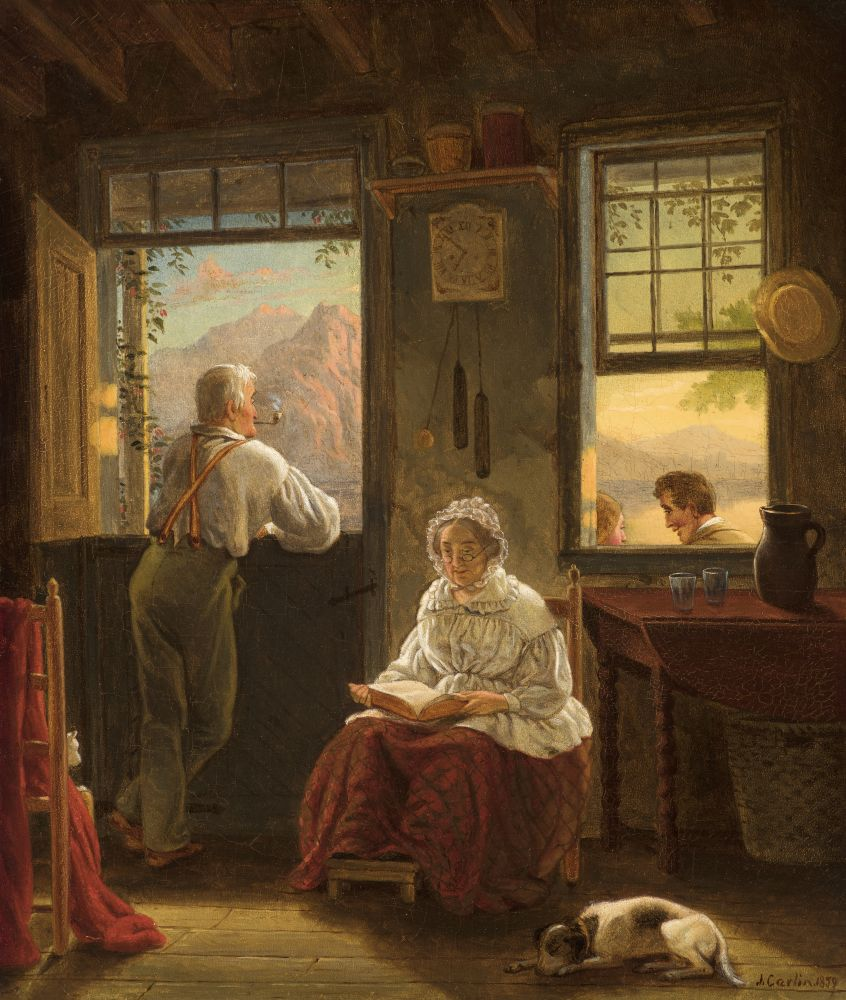 John Carlin (1813–1891), Sunday Afternoon, 1859, oil on canvas, 14 x 12 in., signed and dated lower right