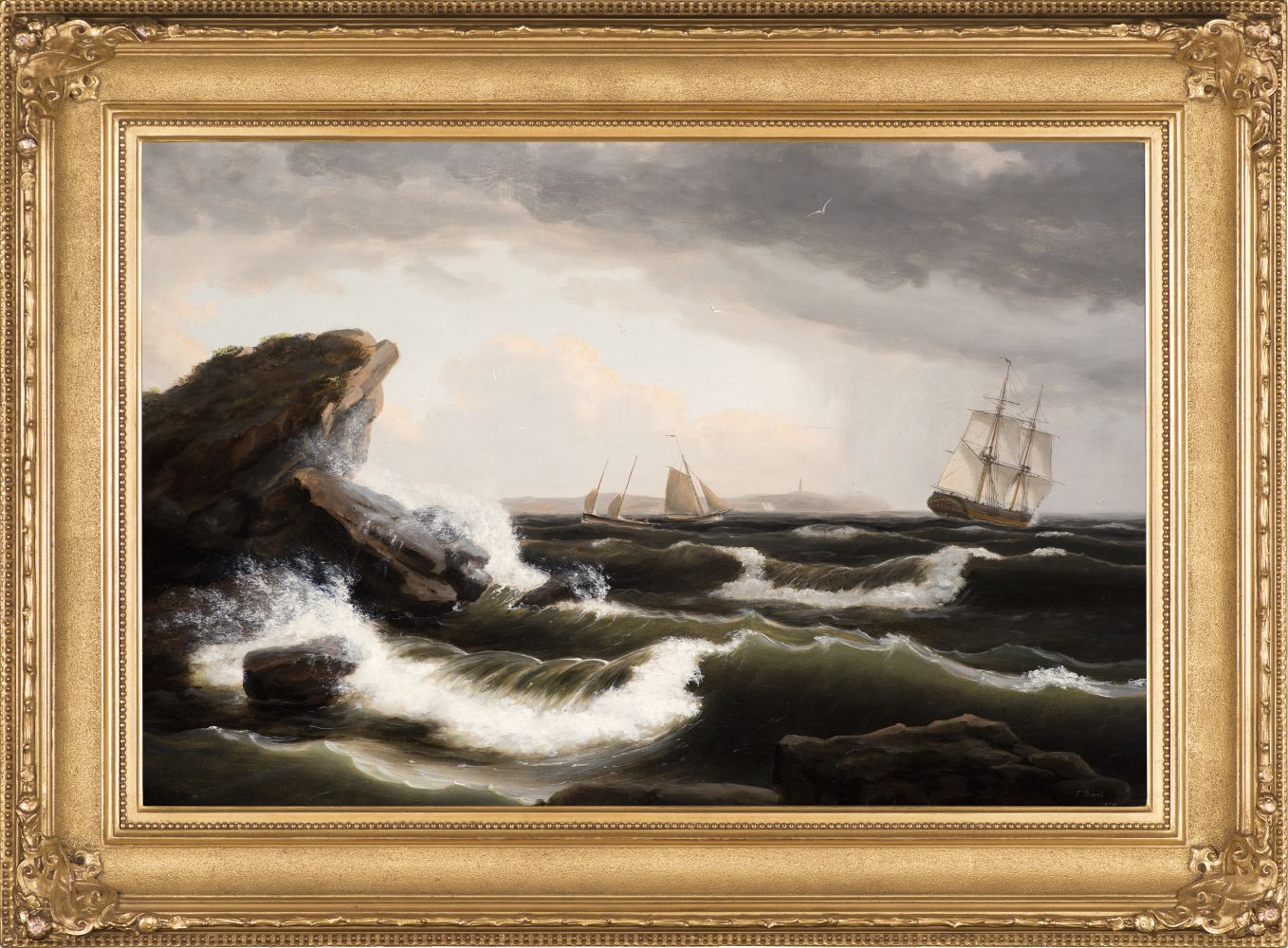 Stormy seascape off the coast of Maine by Thomas Birch (framed)