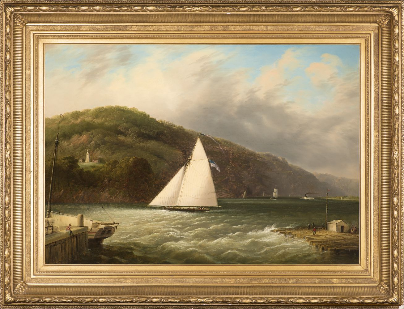 Edmund C. Coates (1816–1871), Yachting on the Hudson, 1863, oil on canvas, 24 x 34 in., signed and dated lower left: E.C. Coates 1863 (framed)