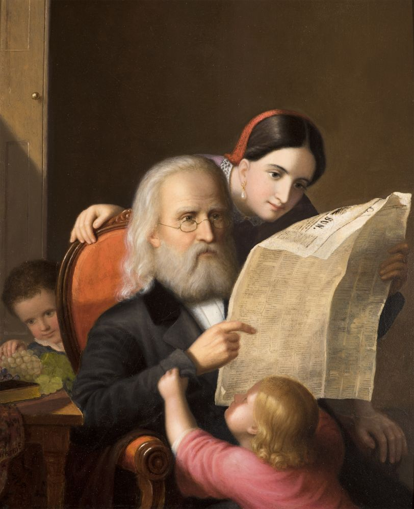 An intimate family scene executed c. 1852 by Hans Heinrich Bebie showing an elderly man reading the newspaper with his daughter and grandchildren.