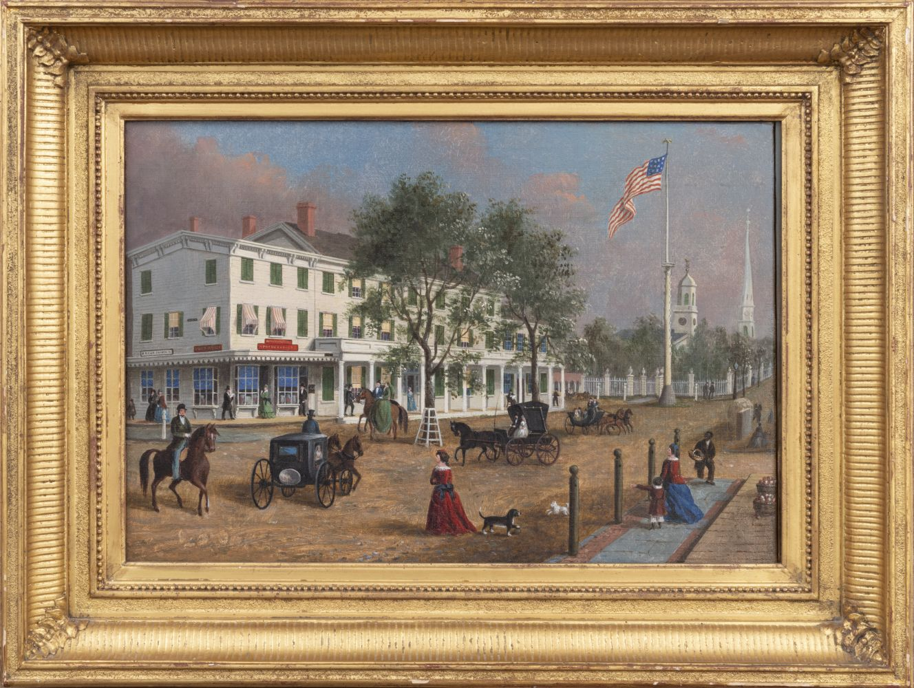 John Evers, Jr. (1794–1884). Northeast Corner, Front Street, Hempstead, New York, 1870. Oil on canvas, 12 x 17 in. Unsigned (framed)