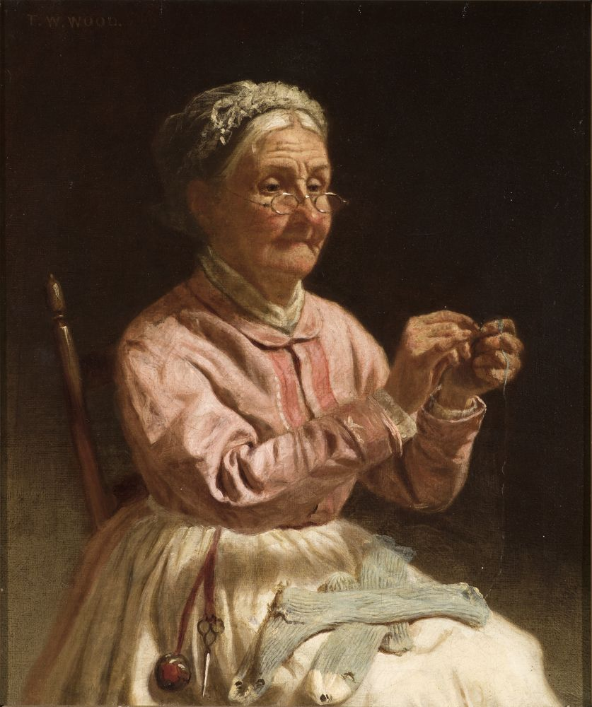 Thomas Waterman Wood (1823–1903), Threading a Needle, c. 1870, oil on canvas, 10 x 12 in., signed upper left: T. W. Wood
