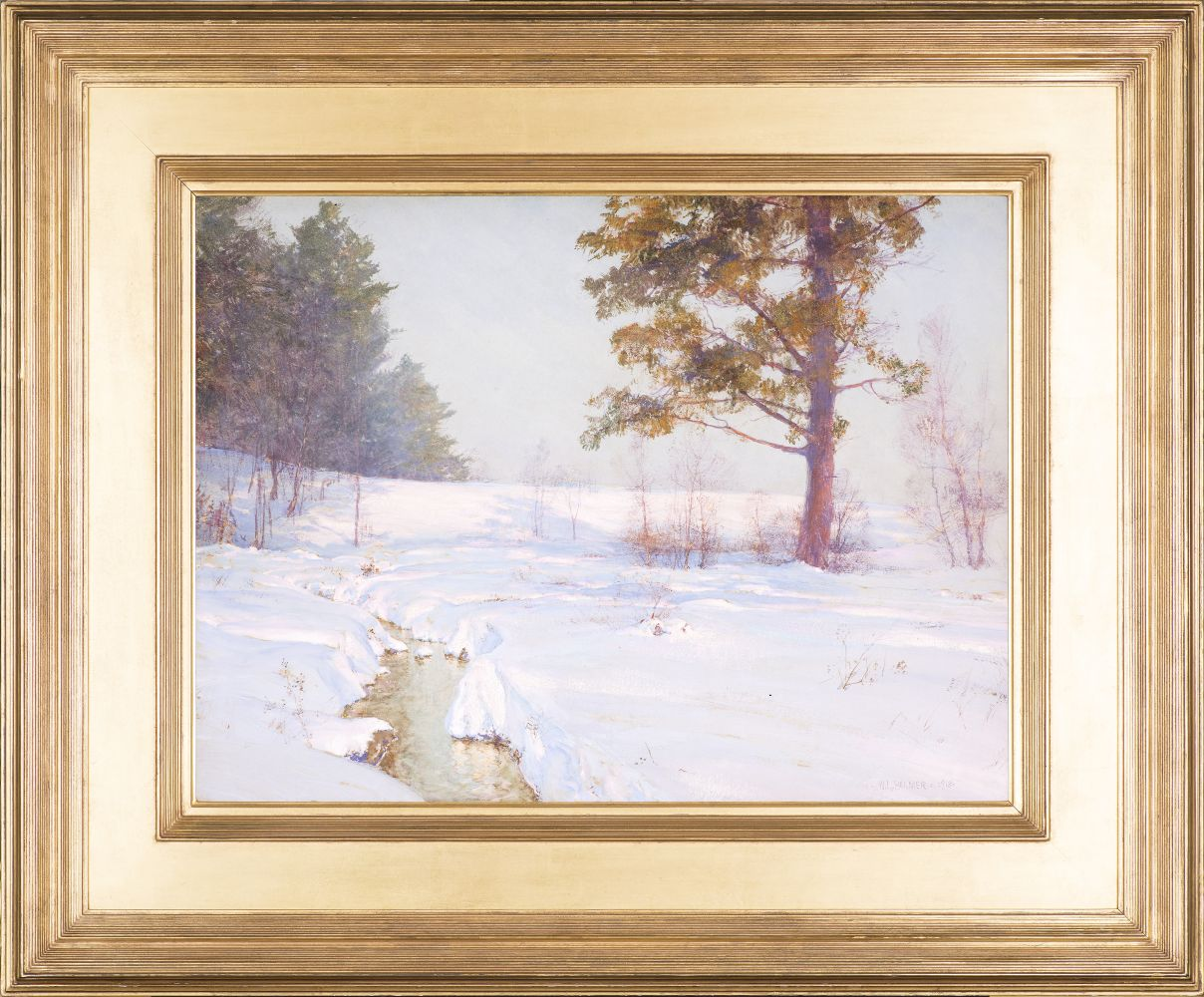 Walter Launt Palmer (1854–1932), Stream in Winter, 1913, watercolor and gouache on paper, 18 x 24 in., signed and dated lower right: W. L. Palmer 1913 (framed)