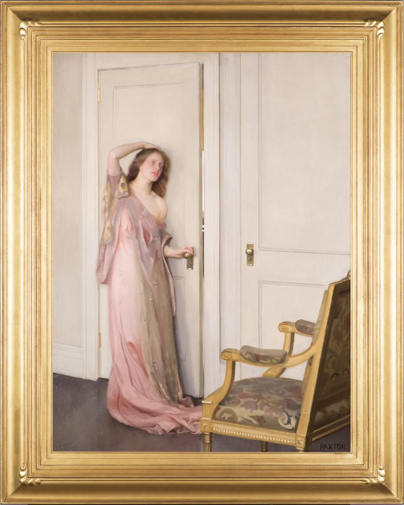 William Paxton (1869–1941), The Other Door, 1917, oil on canvas, 40 1/8 x 30 1/2 in., signed lower right: PAXTON (framed)