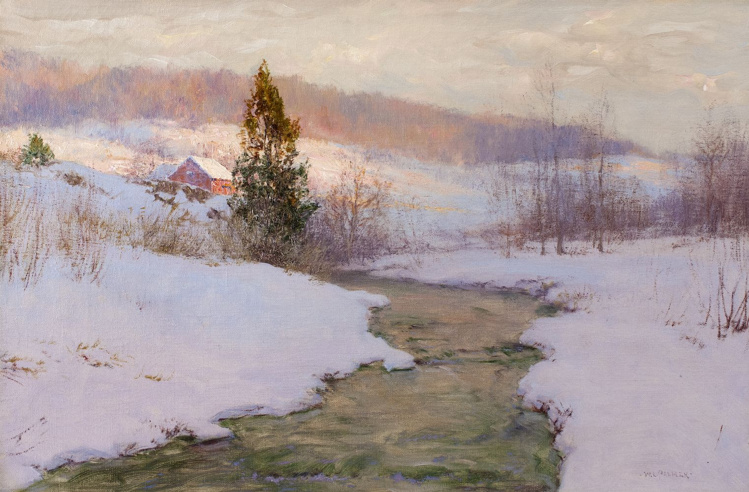 Walter Launt Palmer (1854–1932), An Upland Stream, 1904, oil on canvas, 16 x 24 in., signed lower right: W. L. Palmer