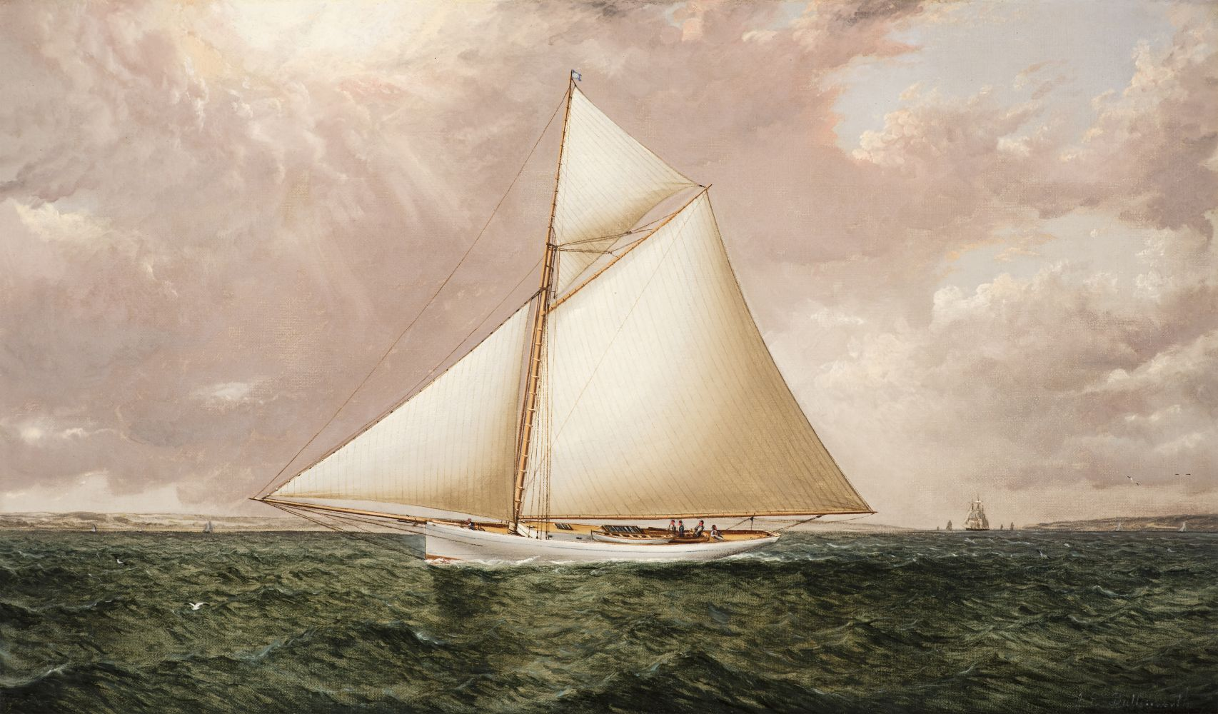 James E. Buttersworth (1817–1894), A Gaff Rigged Racing Cutter, c. 1893, oil on canvas, 12 x 20 in., signed lower right: Jas. Buttersworth